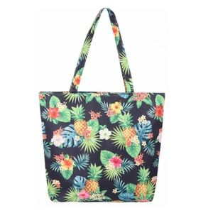 Pineapple Tropical Print Navy Canvas Tote Bag